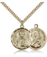 SCAPULAR - 14kt Gold Filled Pendant on a 24 inch Gold Plate Heavy Curb C... - $129.99