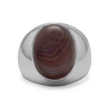 Men's 925 Sterling Silver Oval Botswana Agate Ring - $128.69