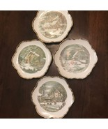 "Lot Of 4 Vintage Scenery Currier & Ives 6"" Plates Saucers Plate - $18.68"