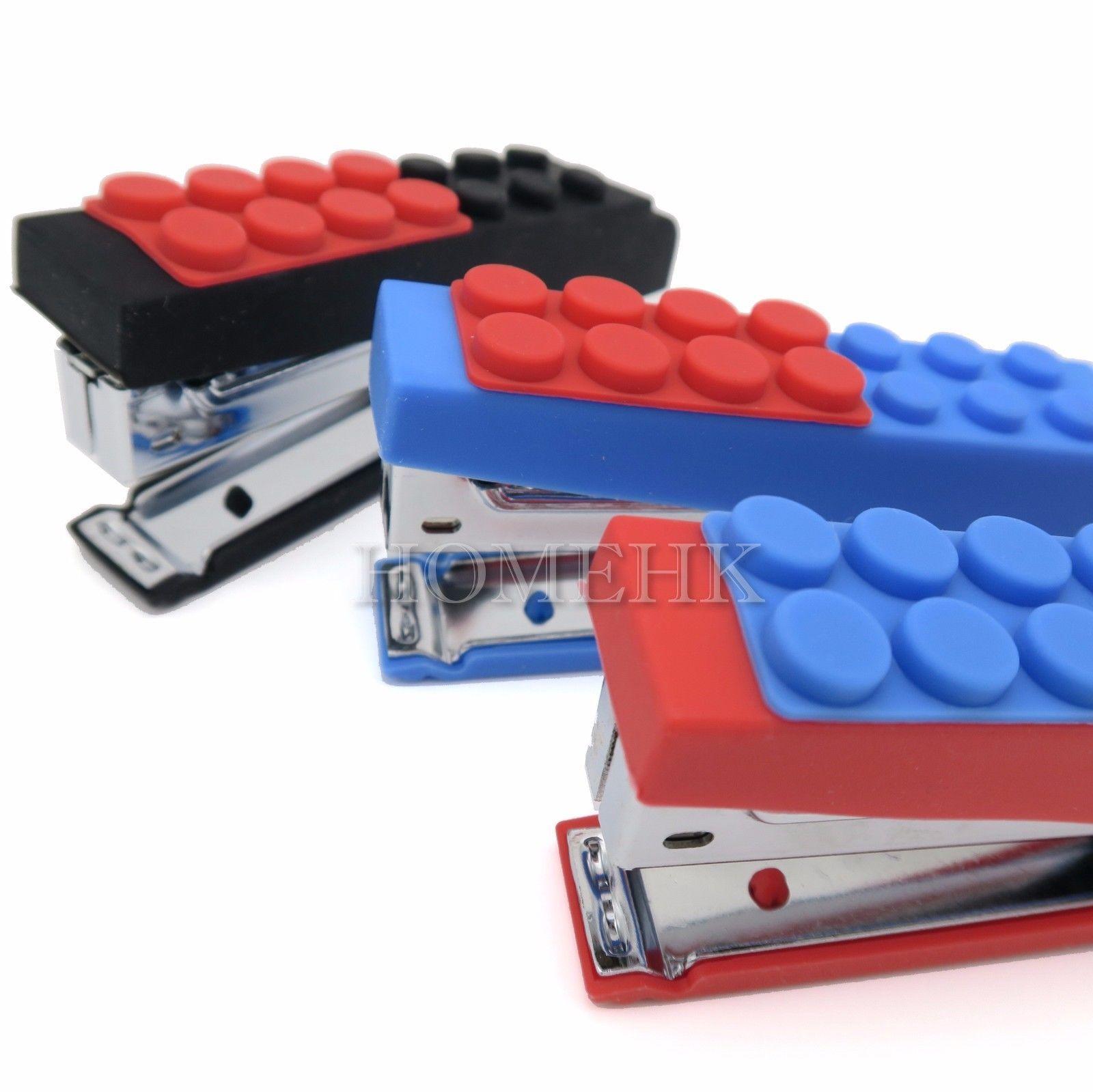 Bricks Lego Stapler Paper Portable office home school stationery staple silicon