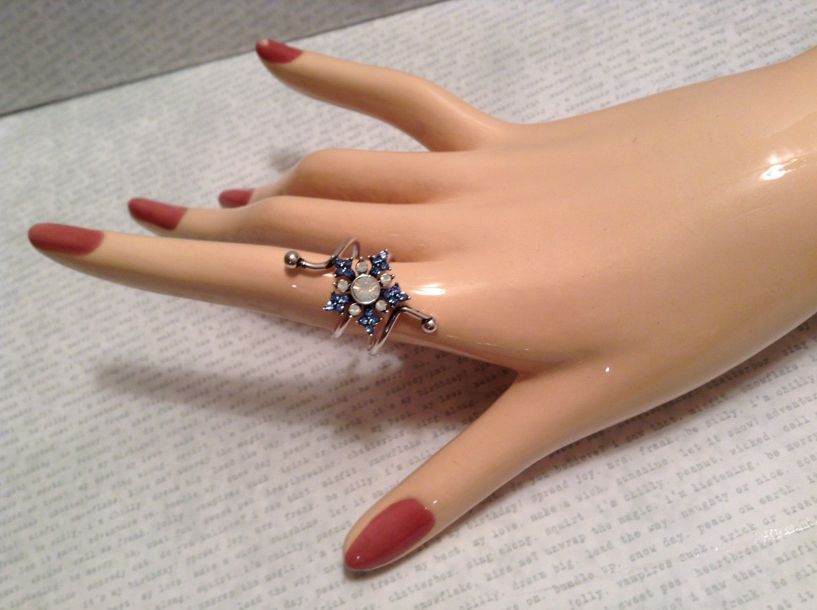 Fun Snowflake wrap crystal sparkle ring adjustable winter holiday gift