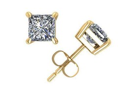 1.25CT Princess Cut Genuine G/I2 Diamonds 14K Solid Yellow Gold Stud Ear... - $1,152.39