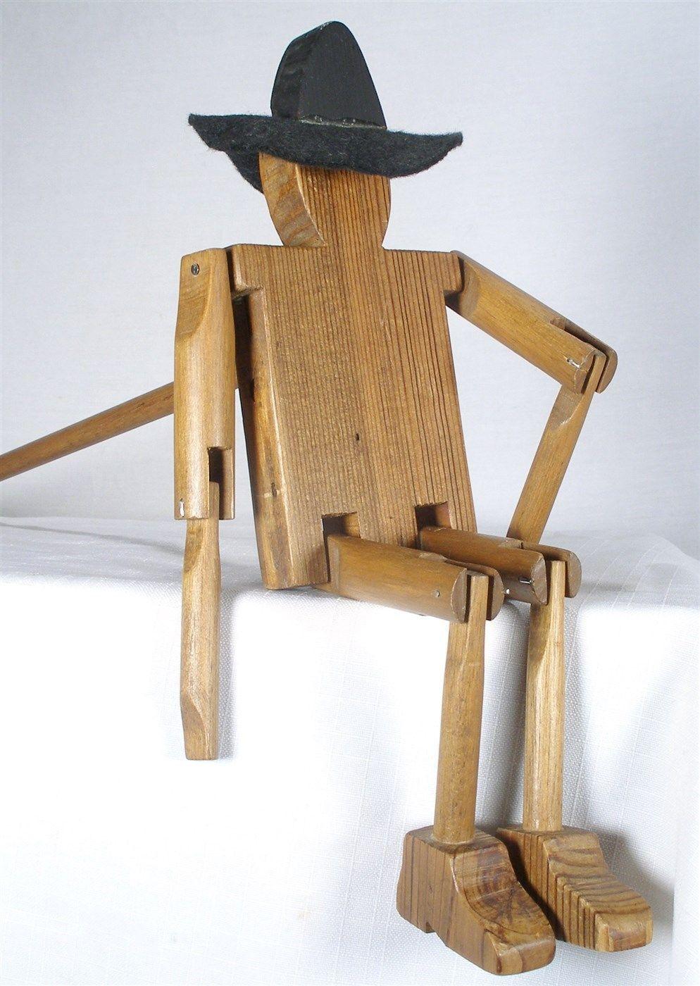 Wood Arm Art ~ Antique folk art wooden oak walnut cowboy and similar items