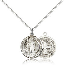 ST. BENEDICT MEDAL- Sterling Silver Medal & Chain - 0026B - $52.99