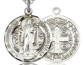 ST. BENEDICT MEDAL- Sterling Silver Medal & Chain - 0026B image 2