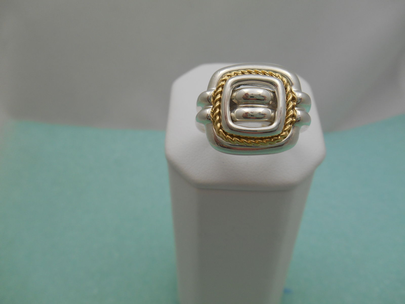 Tiffany & Co 18K Gold Silver Square Braid Rope Band Ring Sz 5.75 Pouch & Box