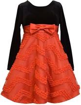 Little Girl 2T-6X Red Black Velvet To Chevron Bonaz Fit Flare Social Dress