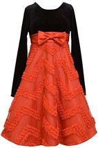 Big Girl Tween 7-16 Red Black Velvet To Chevron Bonaz Fit Flare Social Dress, Bo