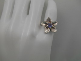 Tiffany & Co. Nature Blue Iolite Flower Ring Sz 5 Sterling Silver Rare - $218.24