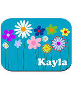 PERSONALIZED MOUSE PAD BRIGHT BLUE FLOWERS - $12.72