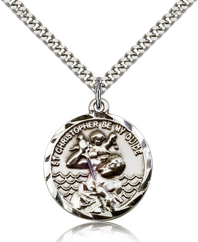 Primary image for ST. CHRISTOPHER MEDAL - Sterling Silver Medal & Chain - 0036C
