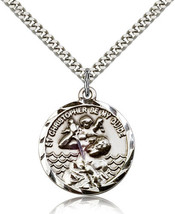 ST. CHRISTOPHER MEDAL - Sterling Silver Medal & Chain - 0036C - $62.99