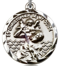 ST. CHRISTOPHER MEDAL - Sterling Silver Medal & Chain - 0036C image 2