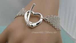 Tiffany & Co Peretti Mesh Open Heart Toggle Bracelet Sterling Silver-Mint - $598.87