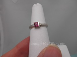 Tiffany & Co. Pink Tourmaline Princess Cut Stackable Sterling Silver Ring - $218.25