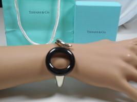 Tiffany / Peretti Rare Black Jade Sevillana Bangle Cuff Bracelet Sterling Silver - $2,138.84
