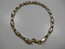 "Unique Heavy Yellow & White Gold Stampato Link Bracelet 7.25"" 5g Beautif... - $165.86"