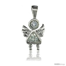 Sterling Silver April Birthstone Angel Pendant w/ Clear Color Cubic  - $14.65