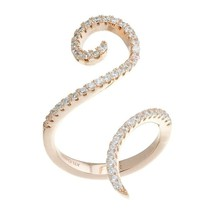 18K VERMEIL-Pave Rose 5A CZ Fancy Swirl Open Cuff Knuckle Ring -925/SS - $69.99