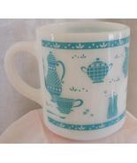 Hazel Atlas mid-century vintage mug, white ceramic with turquoise kitche... - $16.99
