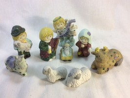 Christmas, Sacred Family, A Child is Born. Child Figurines, Porcelain, Set of 9. - $10.95