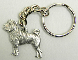 Shar Pei Dog Keychain Keyring Harris Pewter Made USA Key Chain - $9.48
