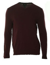 Alfani Men's Red Garnet Port V-Neck Solid Knit Pullover Sweater - $25.99