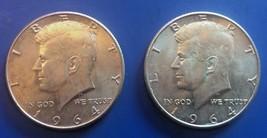 TWO 1964 Silver Kennedy Half Dollars, AU - $20.00