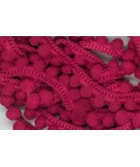 Raspberry Pearls Pom Pom trim hand-dyed cross s... - $2.80
