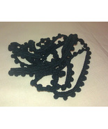 Noir Pom Pom trim hand-dyed cross stitch Dames ... - $2.80