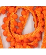 Fra-Orange Pom Pom trim hand-dyed cross stitch ... - $2.80