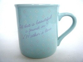 Hallmark Purely Pastels Aqua Mother's Love Coffee Mug Cup 1986 Made In Japan - $5.89