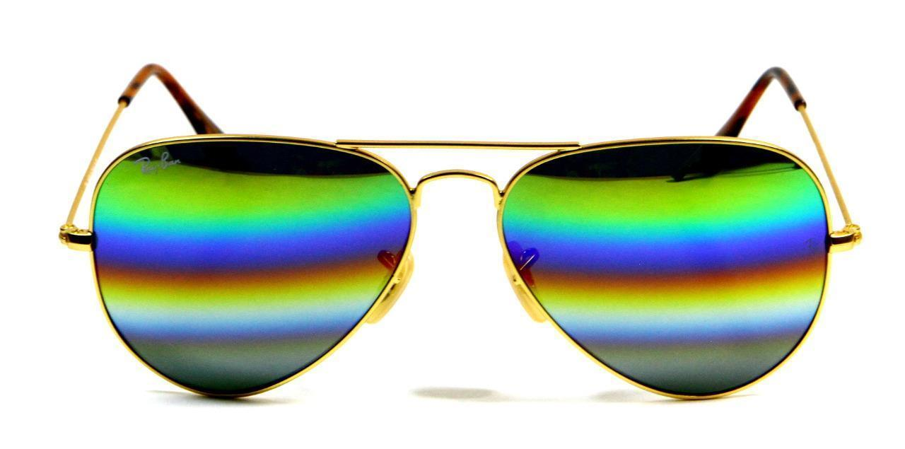 Primary image for Ray Ban 3025 9018/C Rainbow Lens Gold Frame Aviator Sunglasses 58mm New Genuine