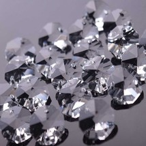 1000 PCS 14MM Chandelier Glass Crystal Octagon Beads Prism Ornament Parts 2 Hole - $67.50