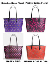 Coach Reversible City Tote W POUCH Coated Canvas BIRD Rose Prairie Calic... - $122.00+