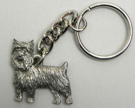 Yorkie puppy cut Dog Keychain Keyring Harris Pewter Made USA Key Chain - $9.48