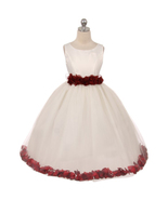 Ivory Dress Burgundy Ribbon Sash Floral Tulle Petals Birthday Flower Gir... - $48.00+