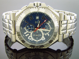 New Men's Aqua Master watch Warfair 0.12 CT Diamonds blue color face - $178.19
