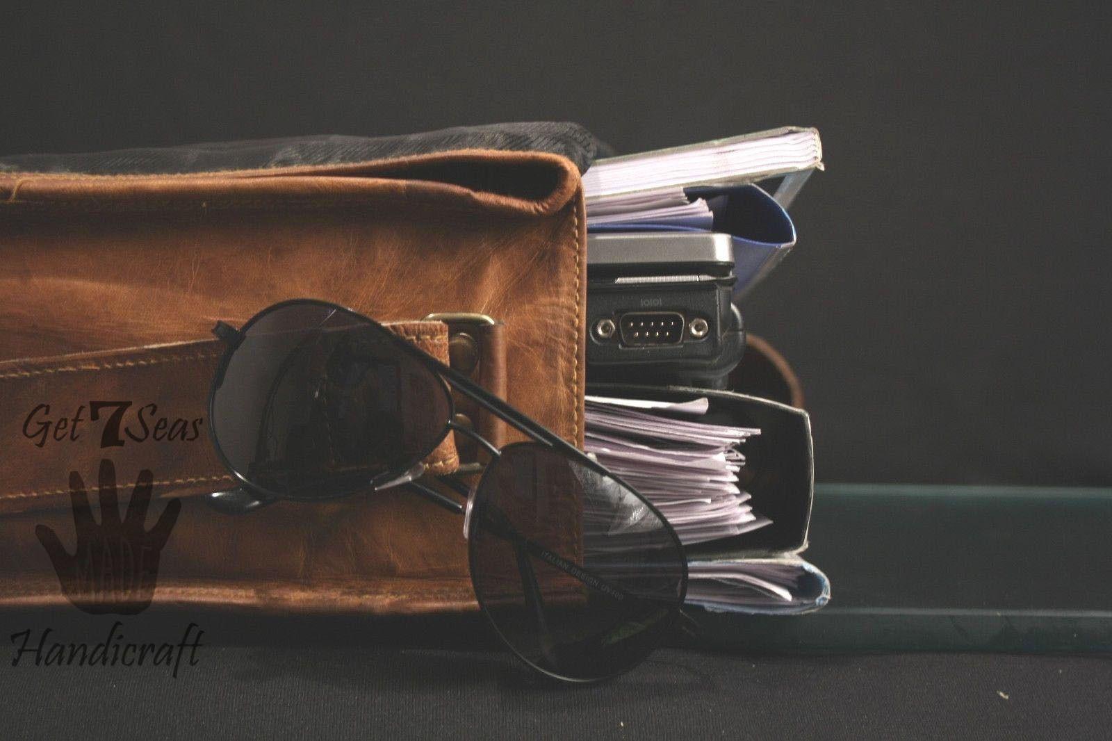 Leather briefcase men's shoulder laptop women satchel men vintage messenger bags