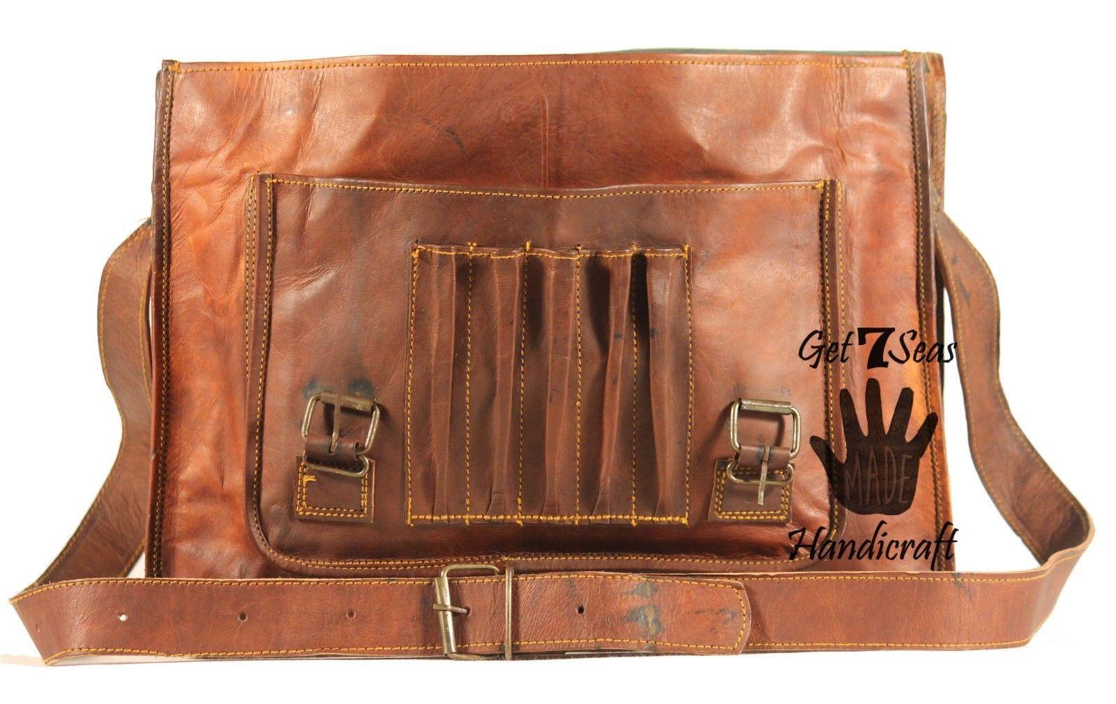 Leather computer bag men's shoulder laptop women briefcase vintage messenger image 6