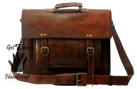 Leather messenger bag men's shoulder women satchel briefcase  laptop men vintage image 3