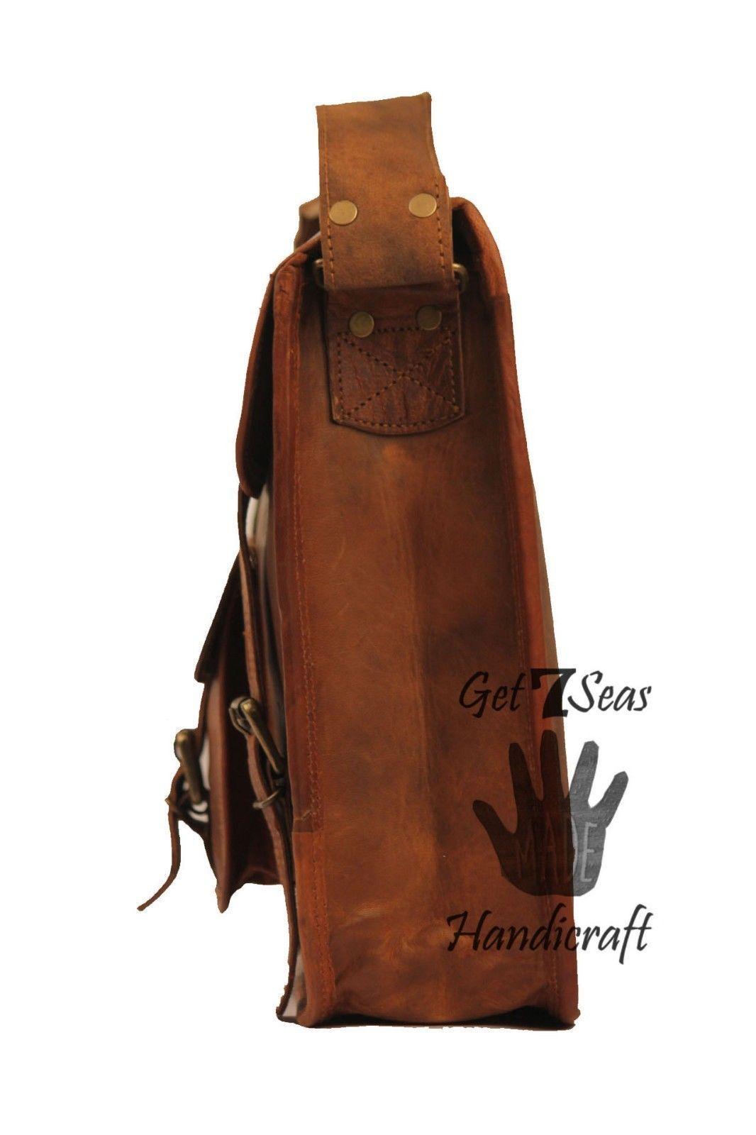 Messenger bag leather men's shoulder women satchel briefcase laptop vintage bags