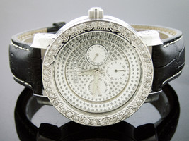 New men's Techno Com Kc quartz watch 2.0ct white round Diamonds silver f... - $499.99