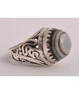 Yemen Yemeni Silver agate aqeeq aqiq Men Ring-M... - $84.15