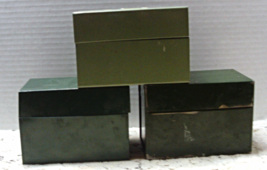 Vintage INDUSTRIAL Rustic Metal Tin RECIPE BOXES //  Green Index File Boxes - $14.00