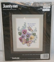 """Janlynn Cross Stitch Kit Find The Beauty New Sealed 12"""" x 16"""" Butterfly Pansies - $14.63"""