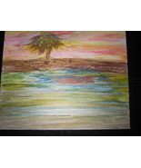 Island Get-away Hand painted Abstract Acrylic Canvas Board Painting  - $46.00