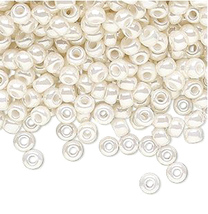 Miyuki 6/0, Op Ivory Pearl 592, Round Seed Bead, 50g glass beads, rocaille - $8.50
