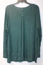 New Womens Plus Size 3X Dark Forest Green V Neck Stretchy Long Sleeve Shirt Top - $18.37