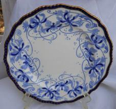 Royal Doulton Burslem Blue White Gold Cabinet Plate S Cobalt RA2866 Rare England - $55.53